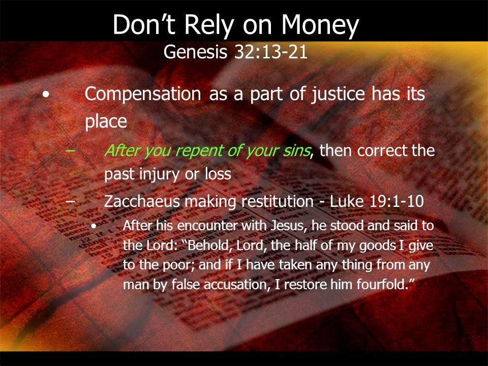 Don't Rely on Money Genesis 32:13-21
