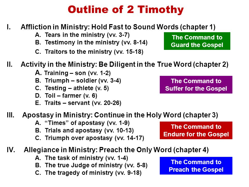 Outline of 2 Timothy Affliction in Ministry: Hold Fast to Sound Words (chapter 1) Tears in the ministry (vv. 3-7)