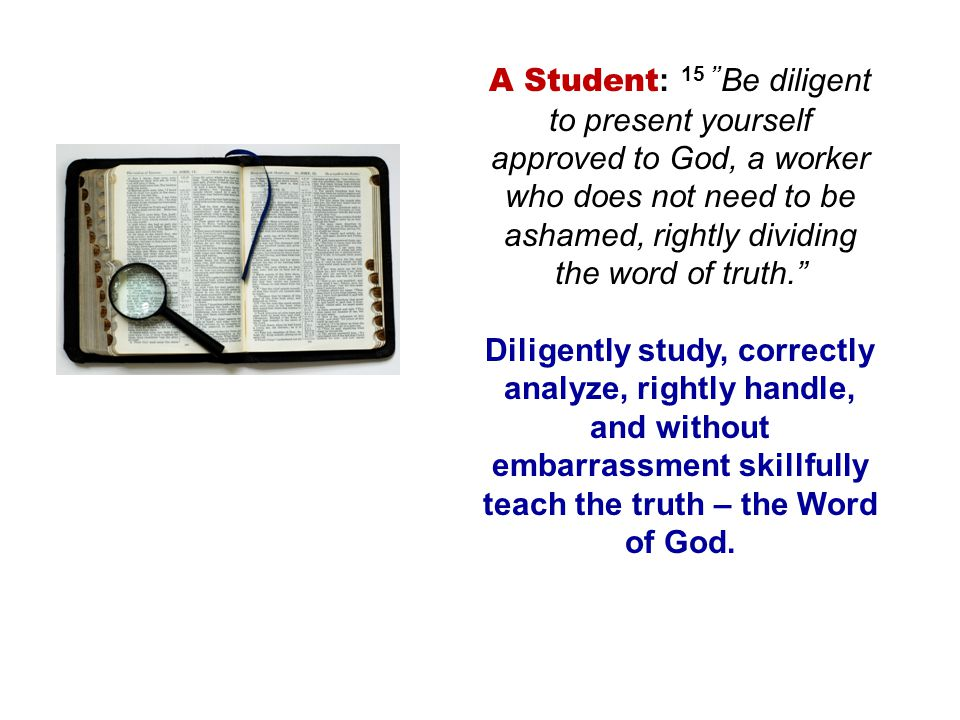 A Student: 15 Be diligent to present yourself approved to God, a worker who does not need to be ashamed, rightly dividing the word of truth.