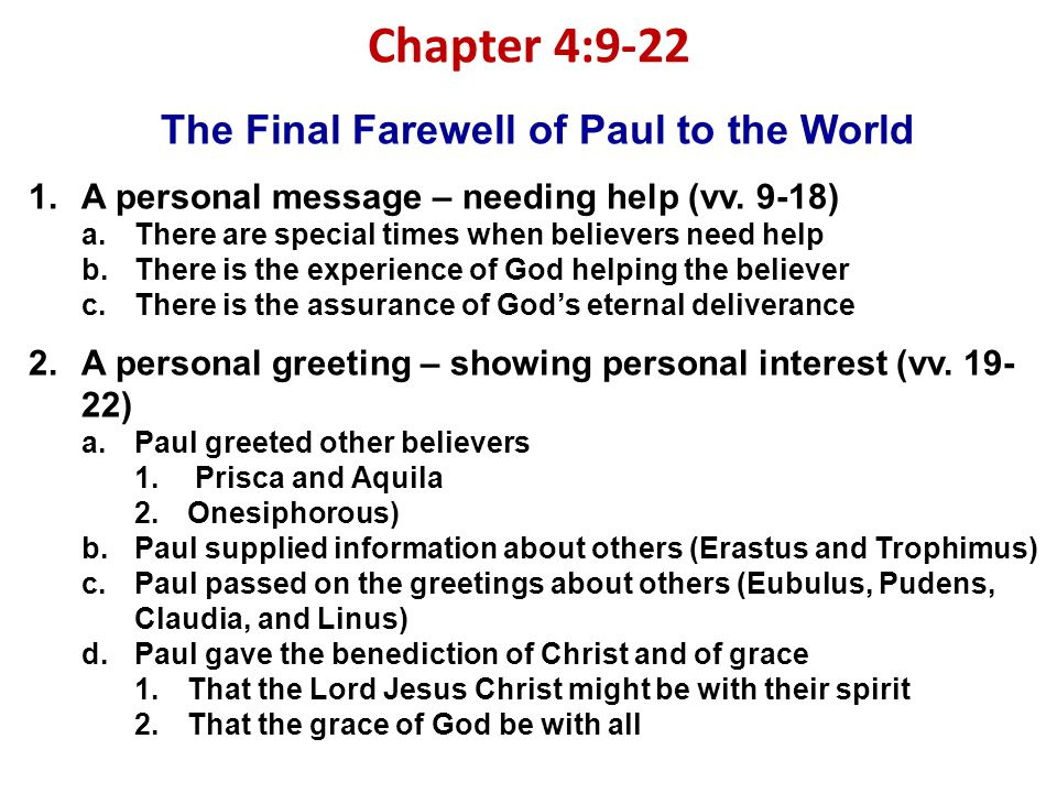 The Final Farewell of Paul to the World