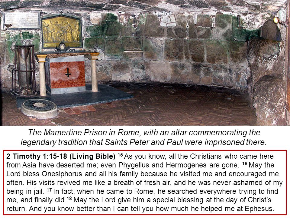 The Mamertine Prison in Rome, with an altar commemorating the legendary tradition that Saints Peter and Paul were imprisoned there.
