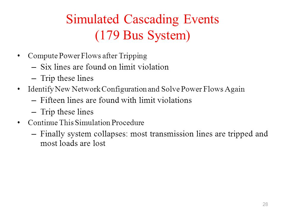Simulated Cascading Events (179 Bus System)