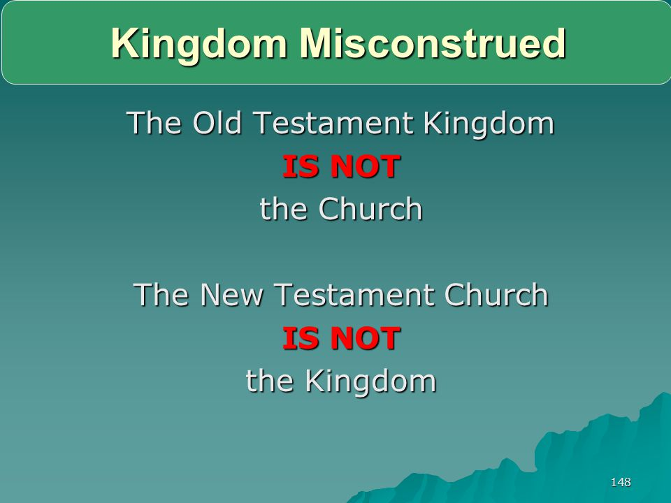 Kingdom Misconstrued The Old Testament Kingdom IS NOT the Church