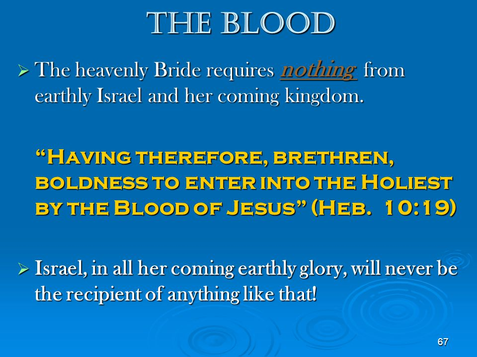 The Blood The heavenly Bride requires nothing from earthly Israel and her coming kingdom.