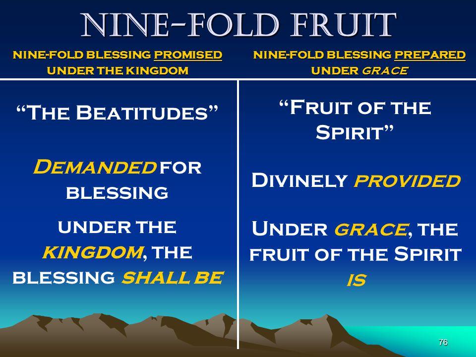 Nine-fold Fruit Fruit of the Spirit The Beatitudes