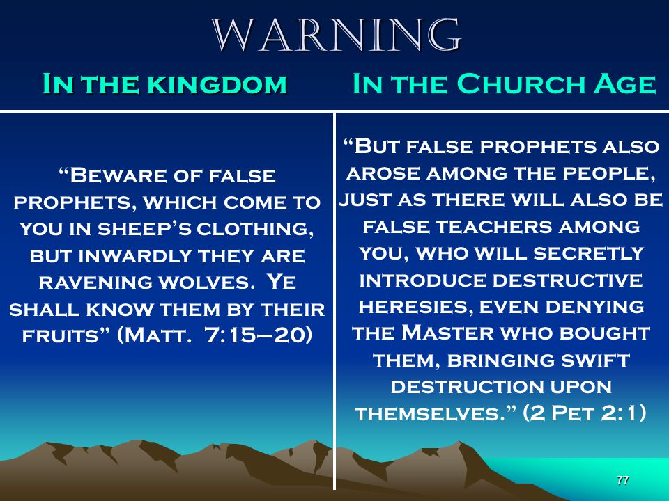 Warning In the kingdom In the Church Age