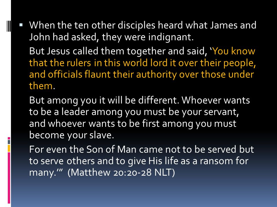 When the ten other disciples heard what James and John had asked, they were indignant.