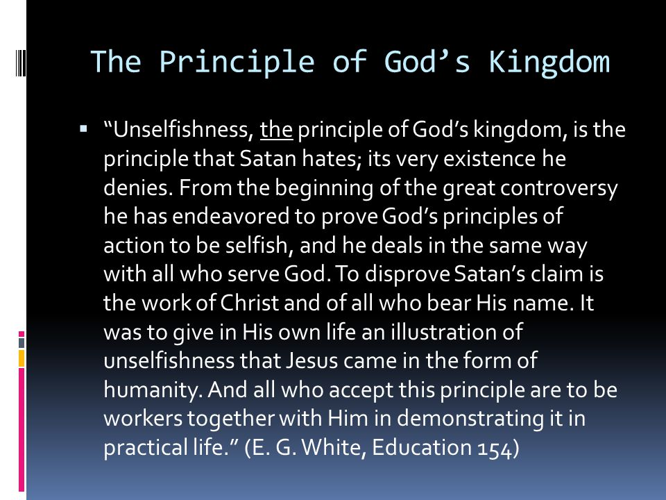 The Principle of God's Kingdom
