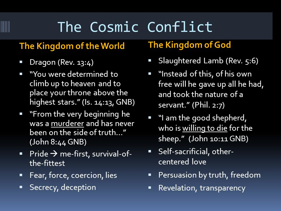 The Cosmic Conflict The Kingdom of the World The Kingdom of God