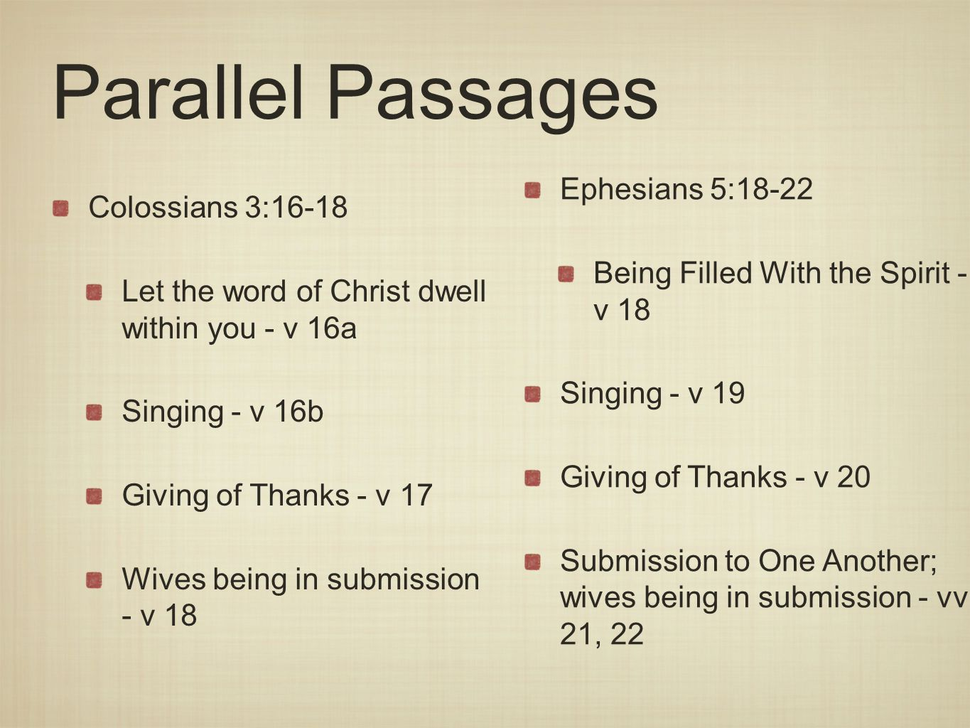 Parallel Passages Ephesians 5:18-22 Colossians 3:16-18