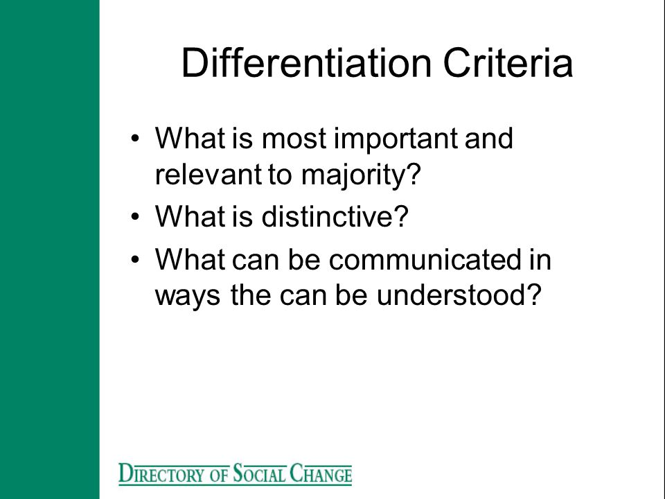 Differentiation Criteria
