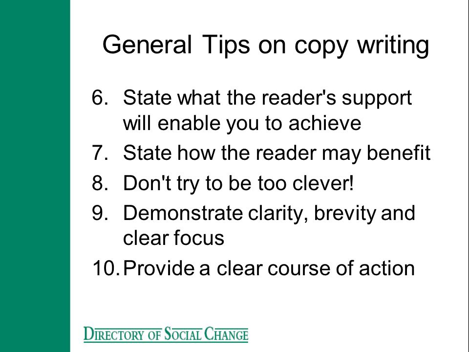 General Tips on copy writing