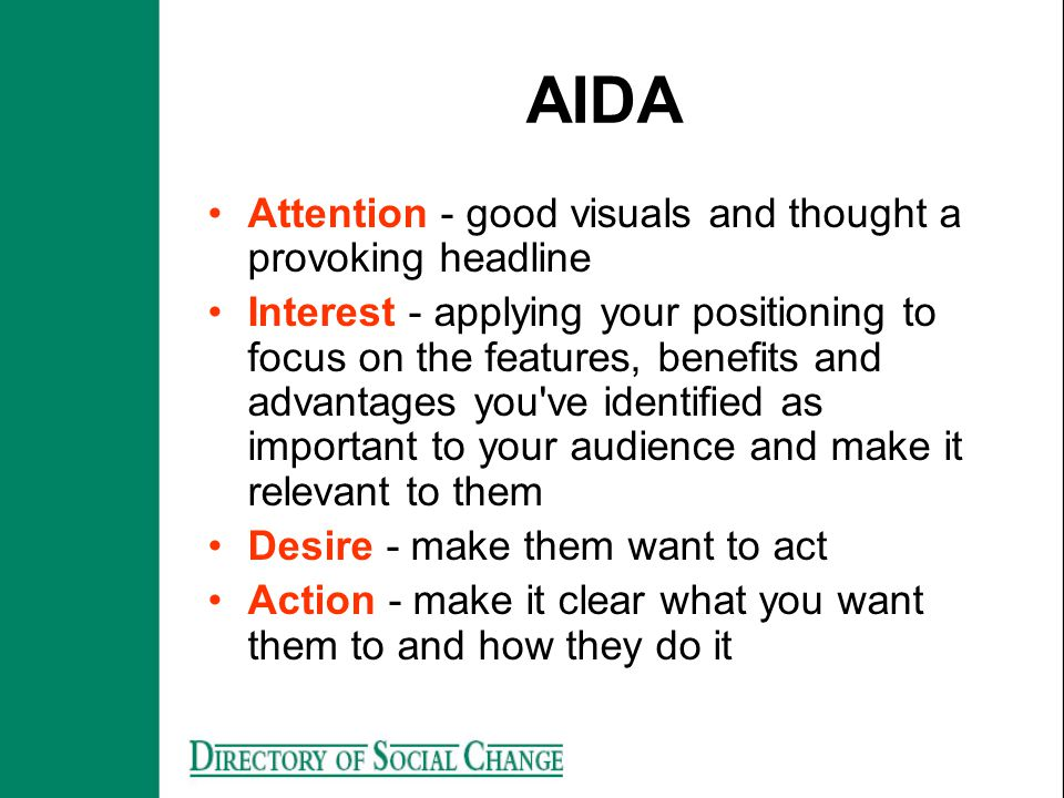 AIDA Attention - good visuals and thought a provoking headline