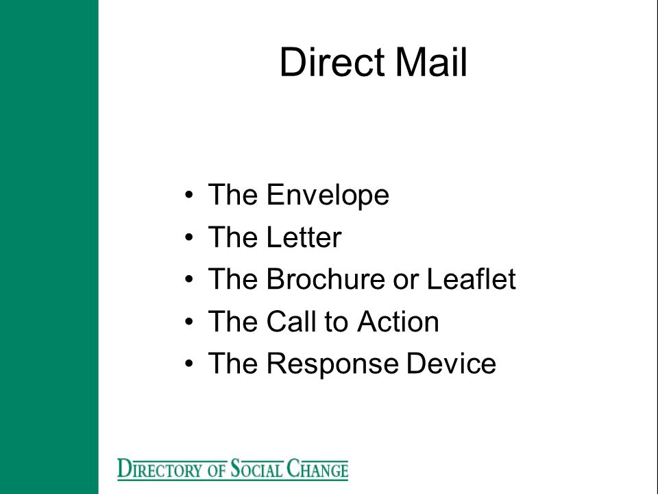 Direct Mail The Envelope The Letter The Brochure or Leaflet