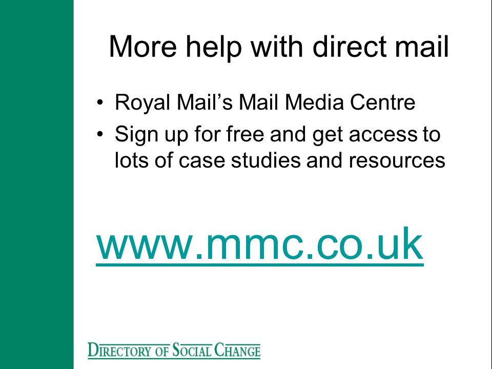 More help with direct mail