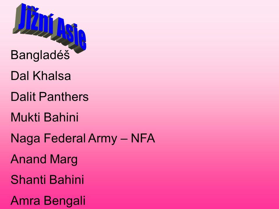 Jižní Asie Bangladéš Dal Khalsa Dalit Panthers Mukti Bahini