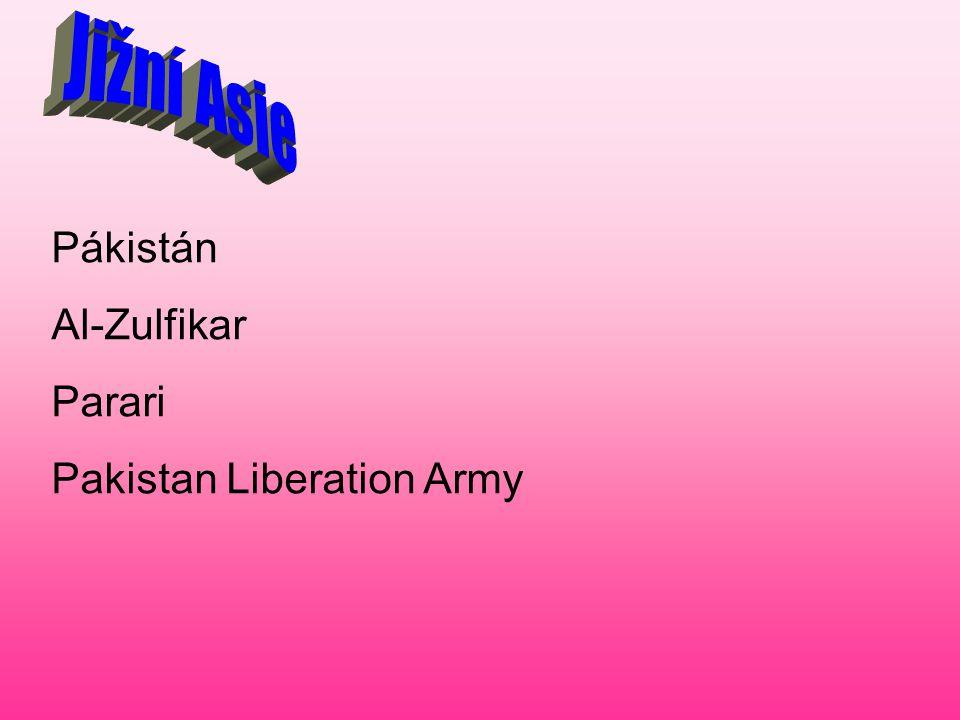 Jižní Asie Pákistán Al-Zulfikar Parari Pakistan Liberation Army