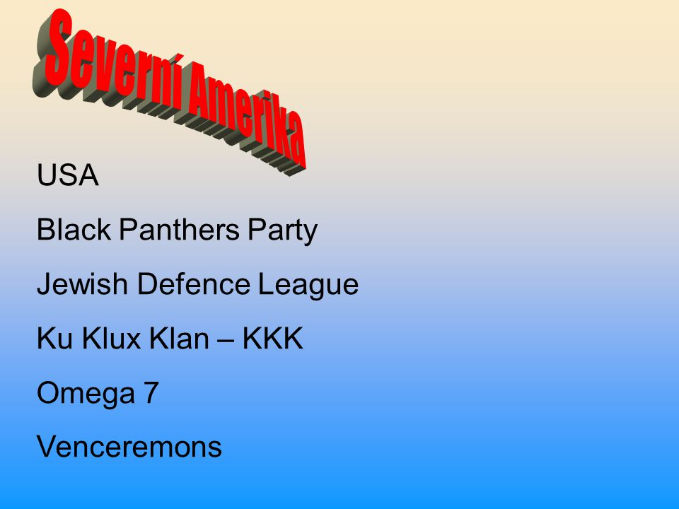 Severní Amerika USA Black Panthers Party Jewish Defence League