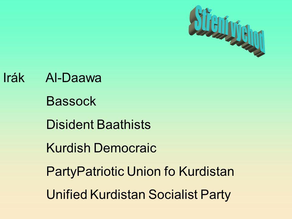 Stření východ Irák Al-Daawa Bassock Disident Baathists