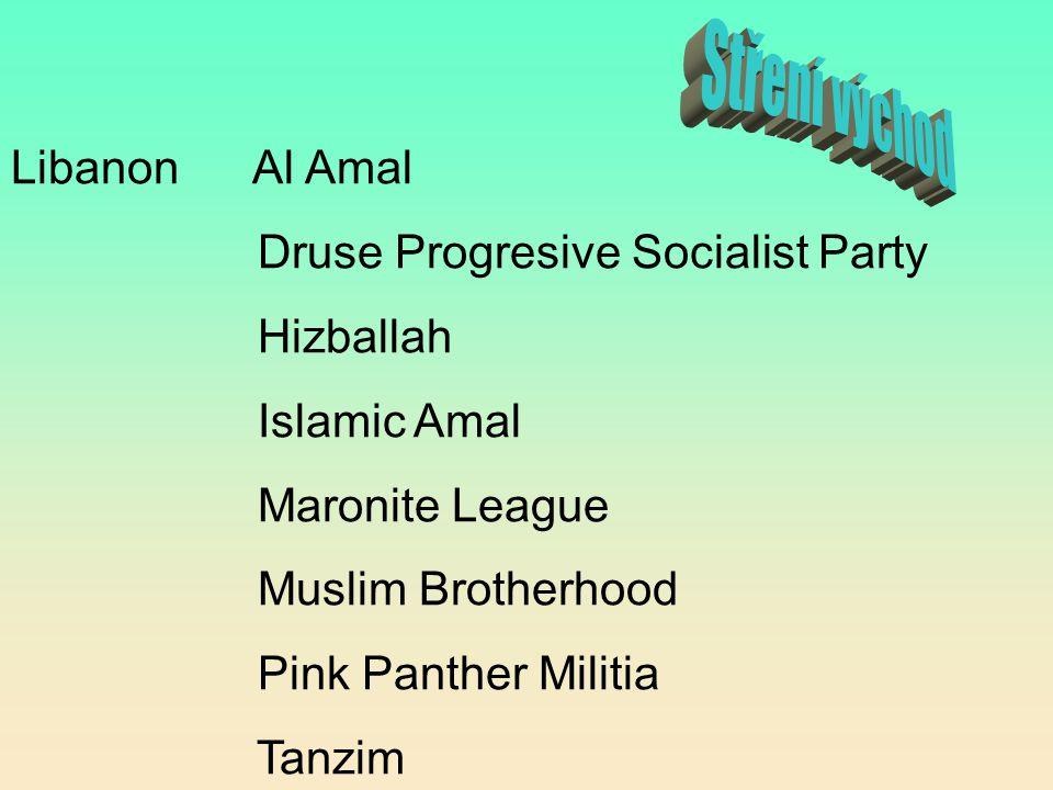 Stření východ Libanon Al Amal Druse Progresive Socialist Party