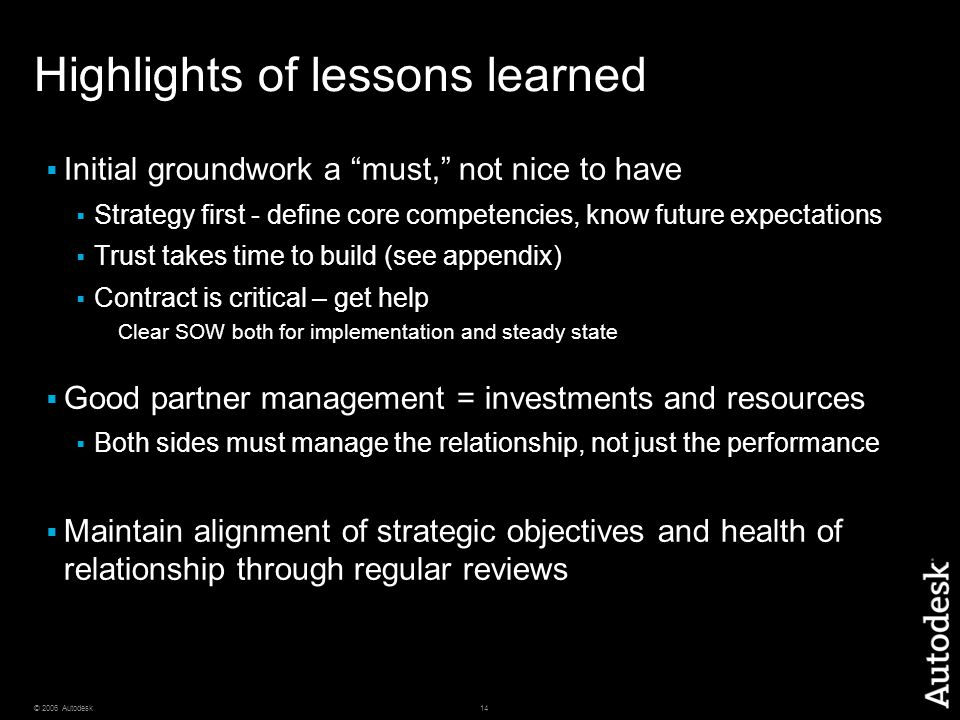 Highlights of lessons learned