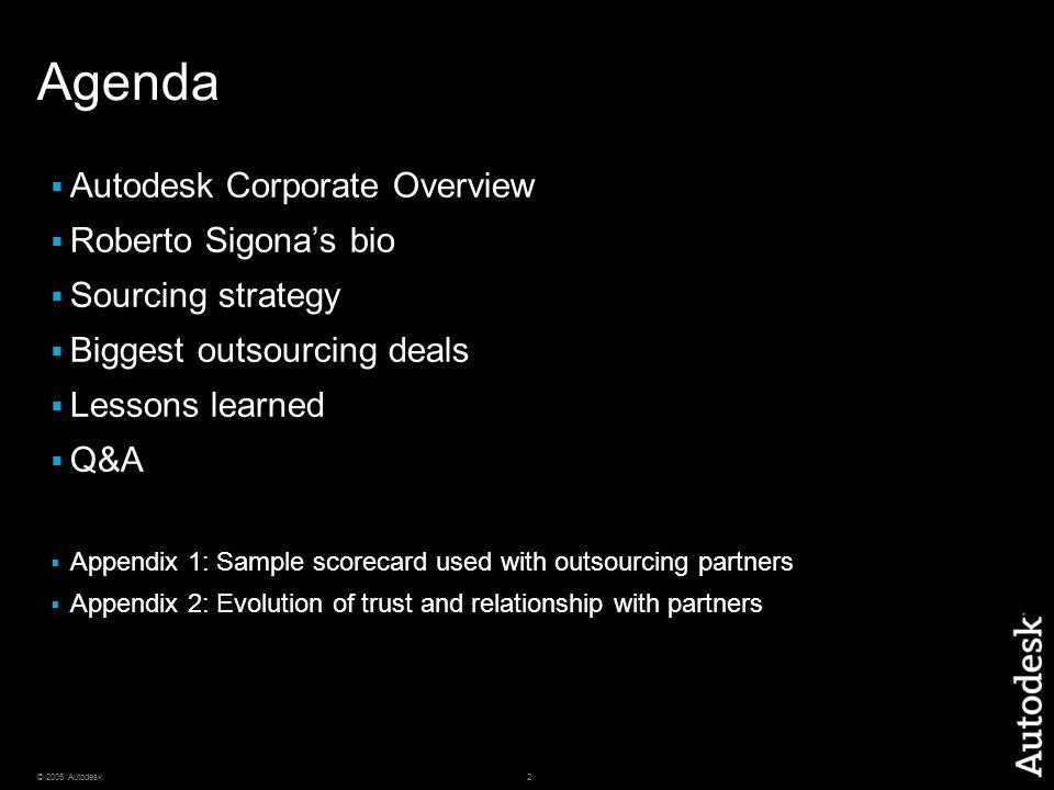 Agenda Autodesk Corporate Overview Roberto Sigona's bio