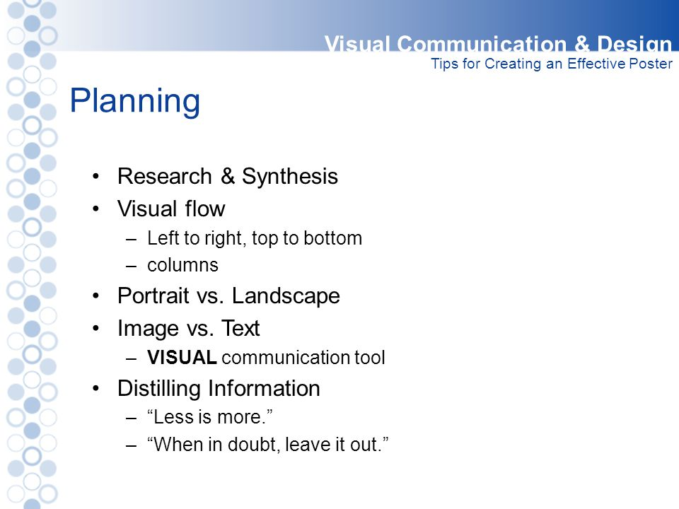 Planning Visual Communication & Design Research & Synthesis