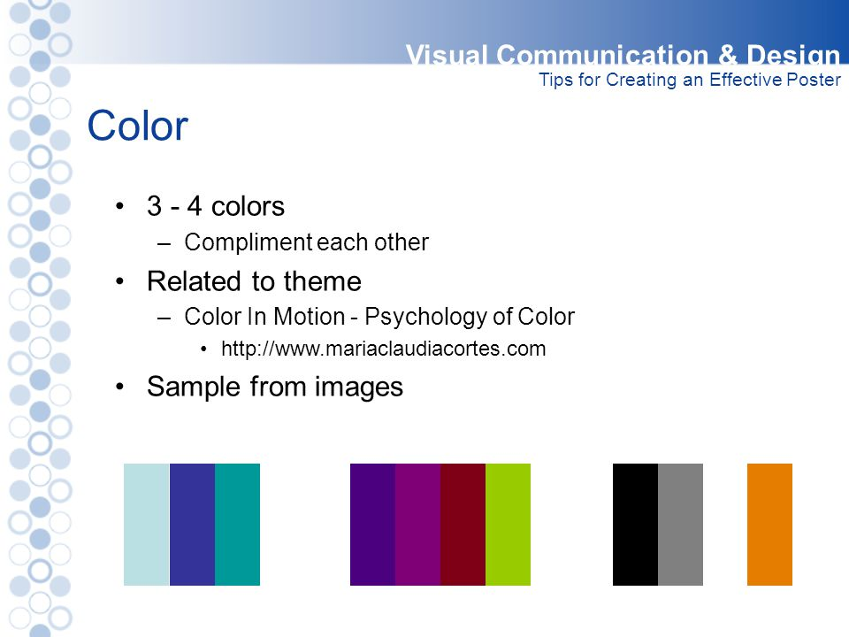 Color Visual Communication & Design 3 - 4 colors Related to theme
