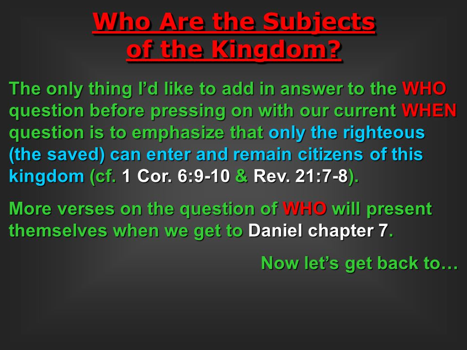 Who Are the Subjects of the Kingdom
