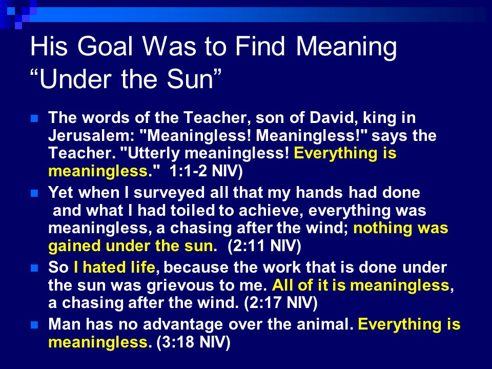 His Goal Was to Find Meaning Under the Sun
