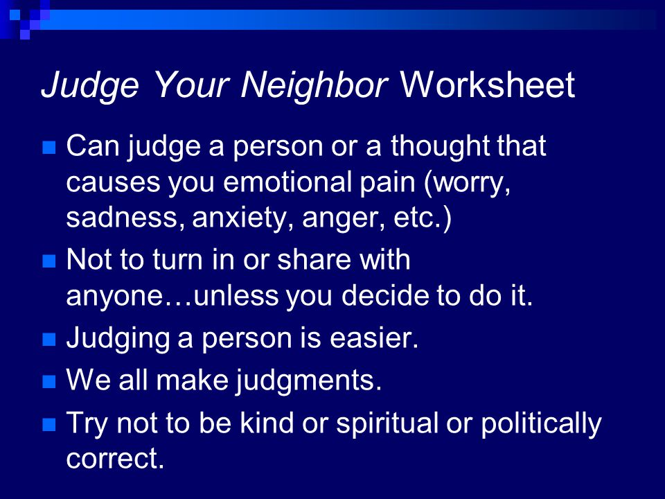 Judge Your Neighbor Worksheet