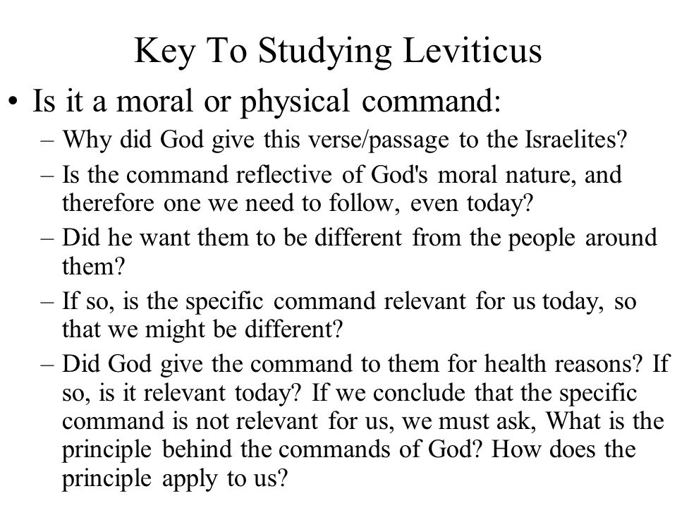 Key To Studying Leviticus