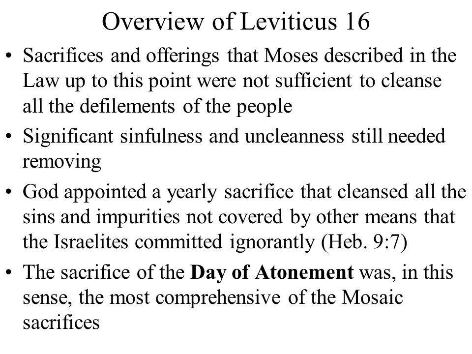 Overview of Leviticus 16