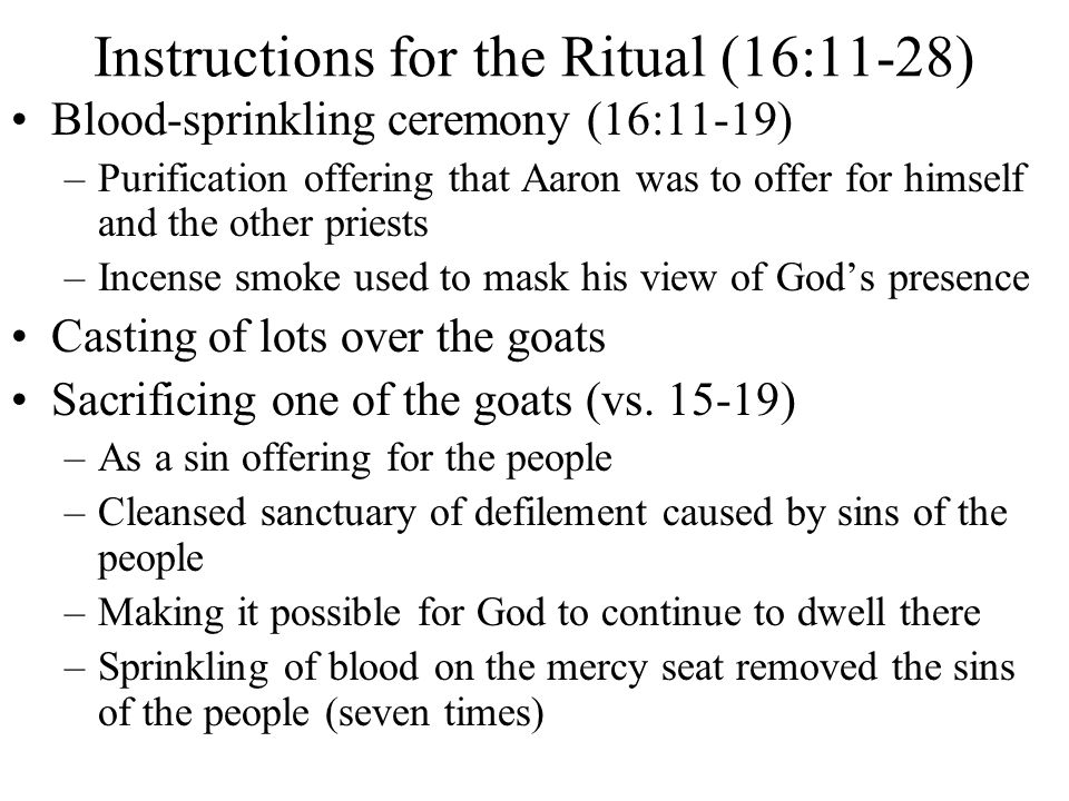 Instructions for the Ritual (16:11-28)