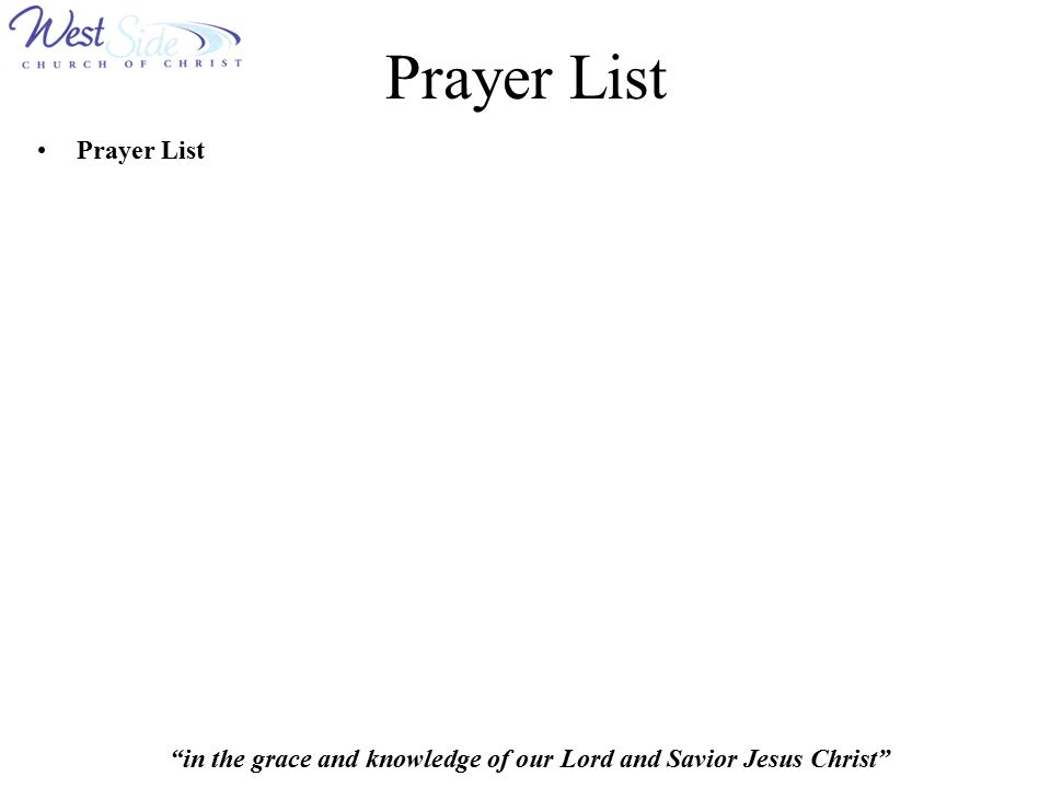 Prayer List Prayer List