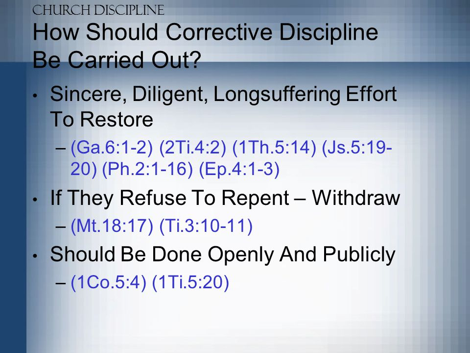 How Should Corrective Discipline Be Carried Out