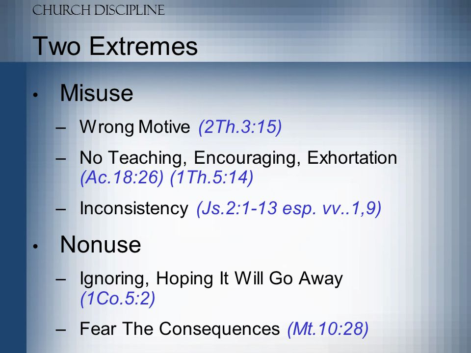 Two Extremes Misuse Nonuse Wrong Motive (2Th.3:15)
