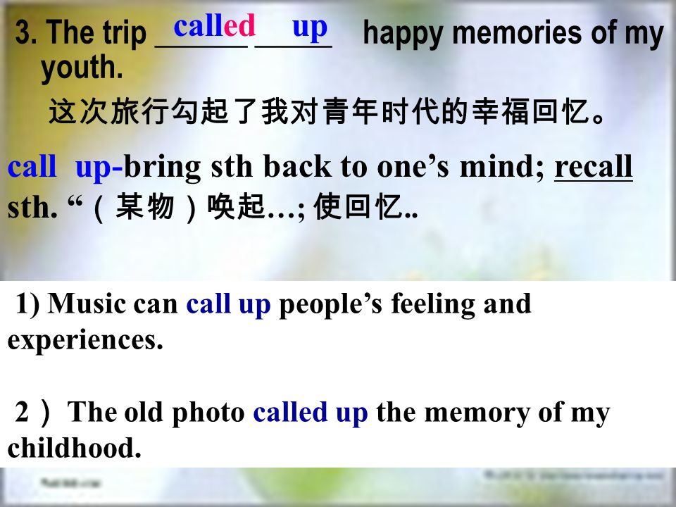 3. The trip ______ _____ happy memories of my youth.