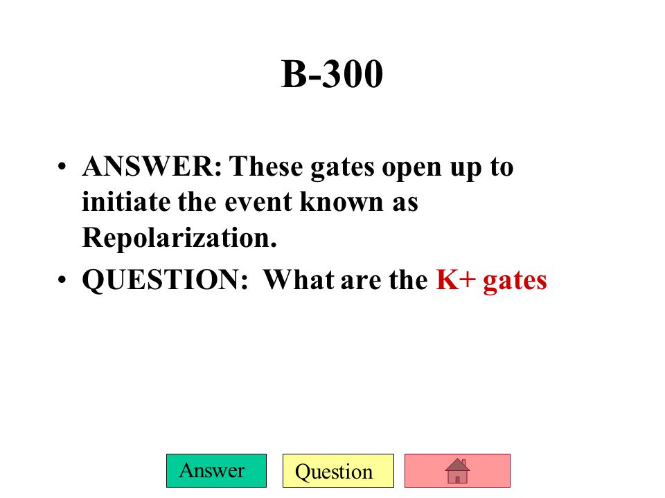 B-300 ANSWER: These gates open up to initiate the event known as Repolarization.