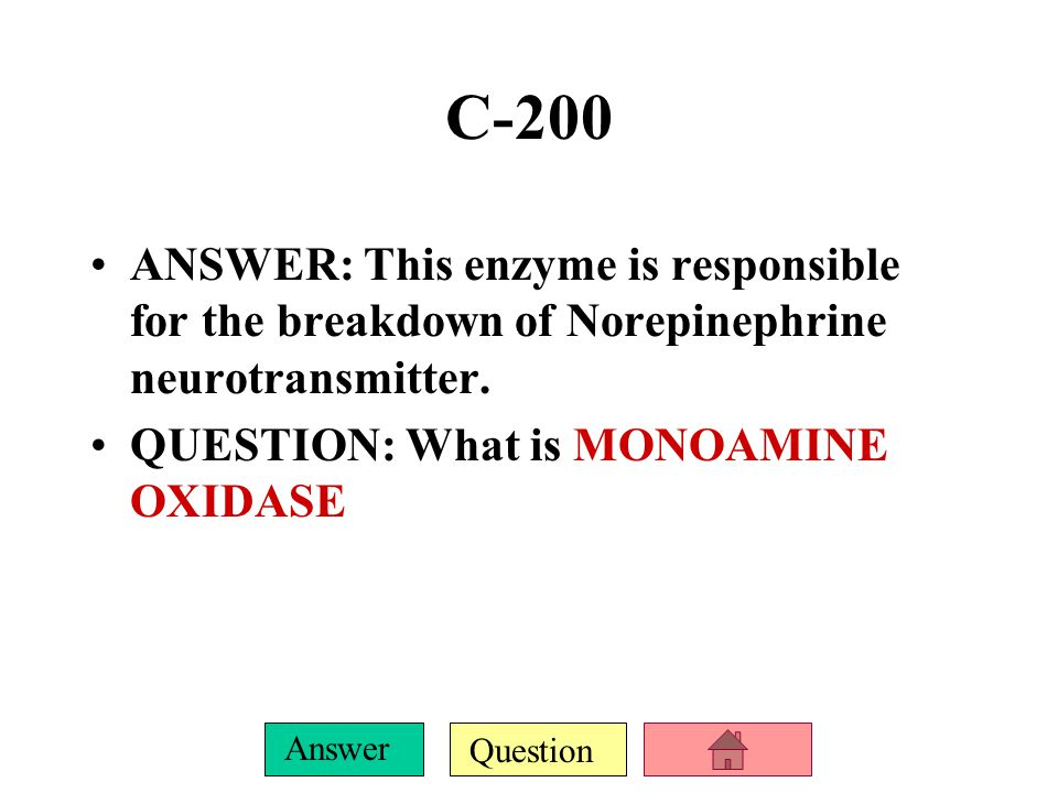 C-200 ANSWER: This enzyme is responsible for the breakdown of Norepinephrine neurotransmitter.