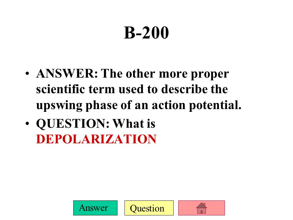 B-200 ANSWER: The other more proper scientific term used to describe the upswing phase of an action potential.