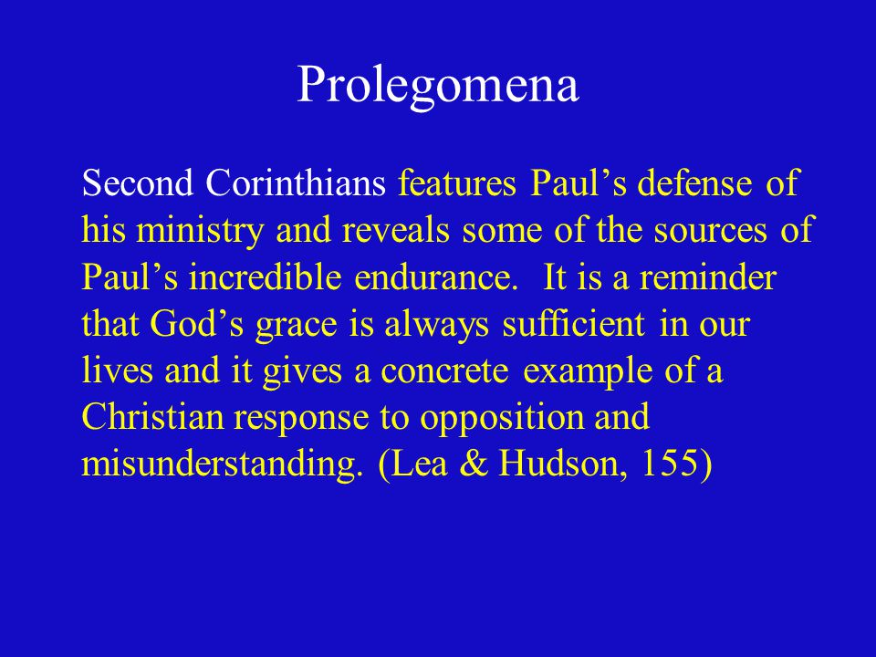 Prolegomena