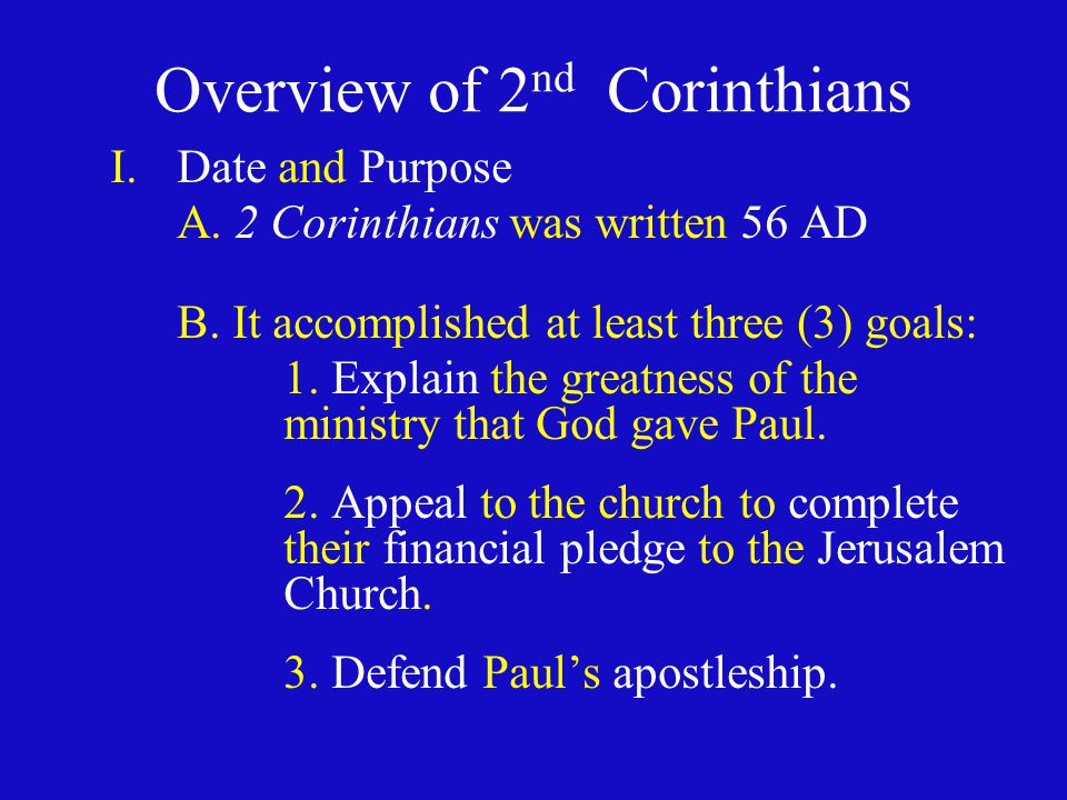 Overview of 2nd Corinthians