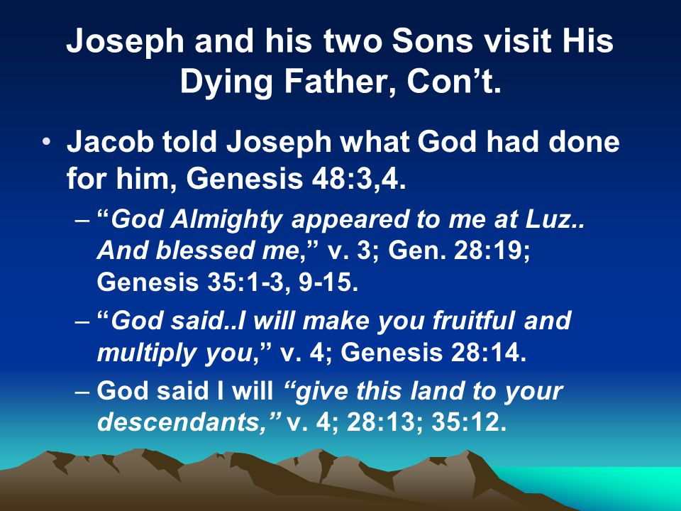 Joseph and his two Sons visit His Dying Father, Con't.