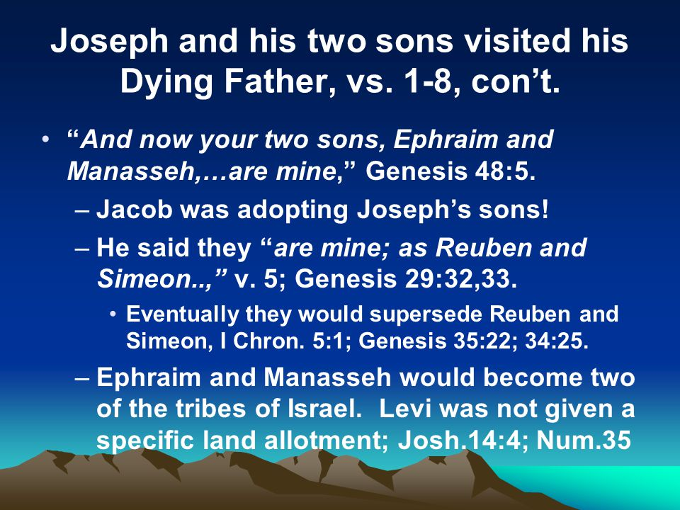 Joseph and his two sons visited his Dying Father, vs. 1-8, con't.