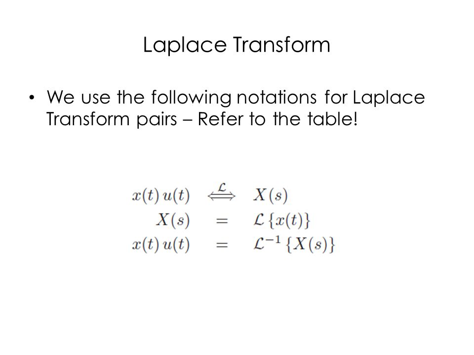 Laplace Transform We use the following notations for Laplace Transform pairs – Refer to the table!