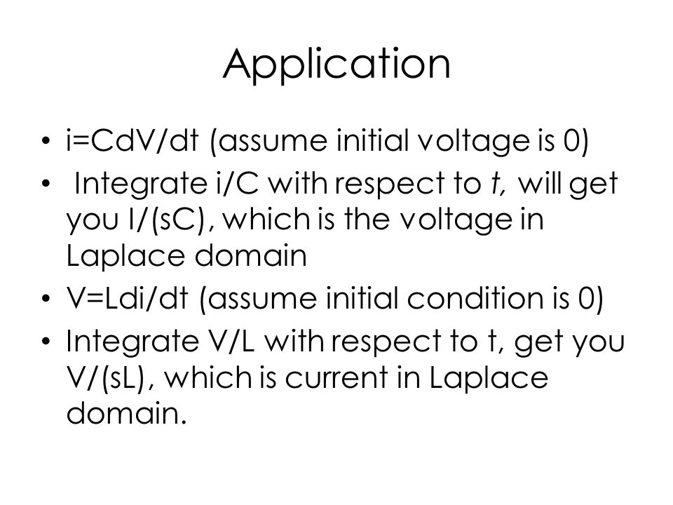 Application i=CdV/dt (assume initial voltage is 0)