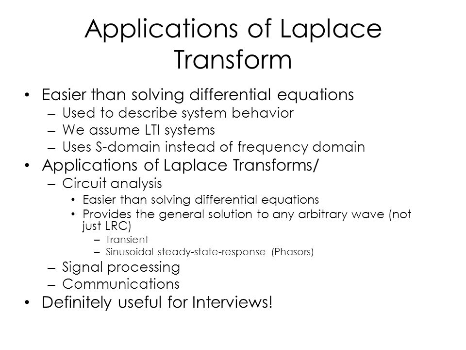 Applications of Laplace Transform