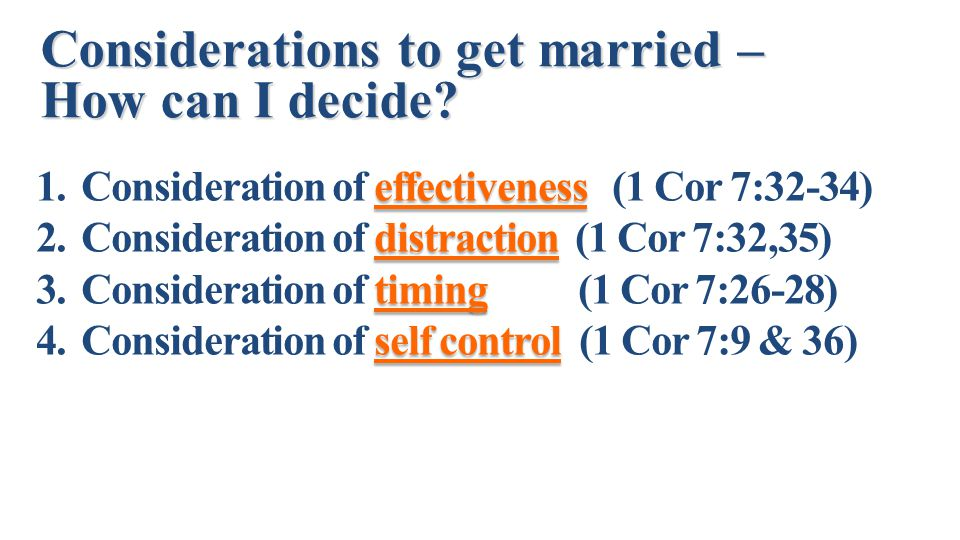 Considerations to get married – How can I decide