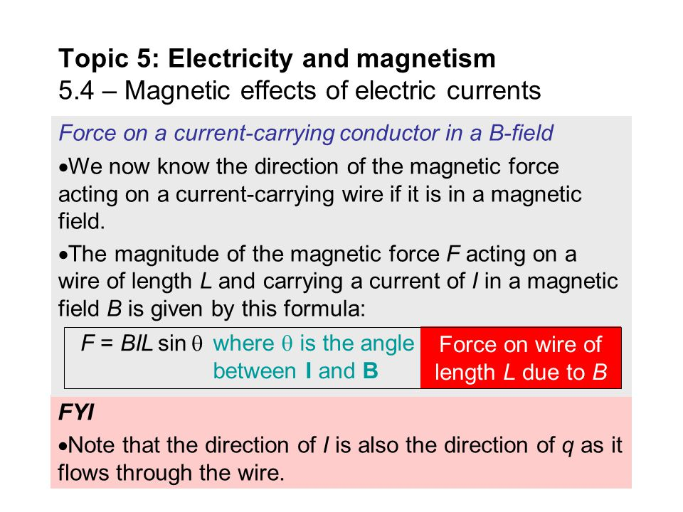 Force on wire of length L due to B
